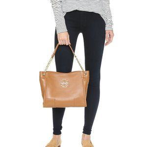 Tory Burch Britten Small Slouchy Tote in Bark